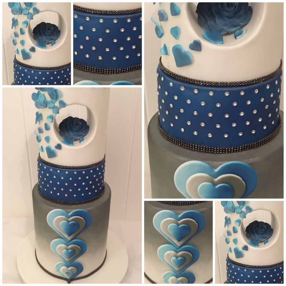 Custom designed gray & blue diamante wedding cake