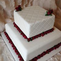 Mini red rose wedding cake
