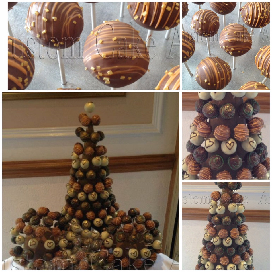 Truffle pop tower wedding cake