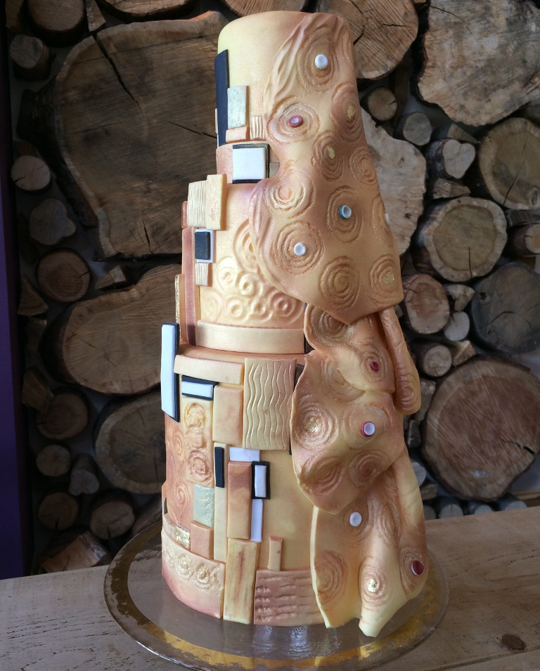 Custom designed Gustav Klimtz wedding cake