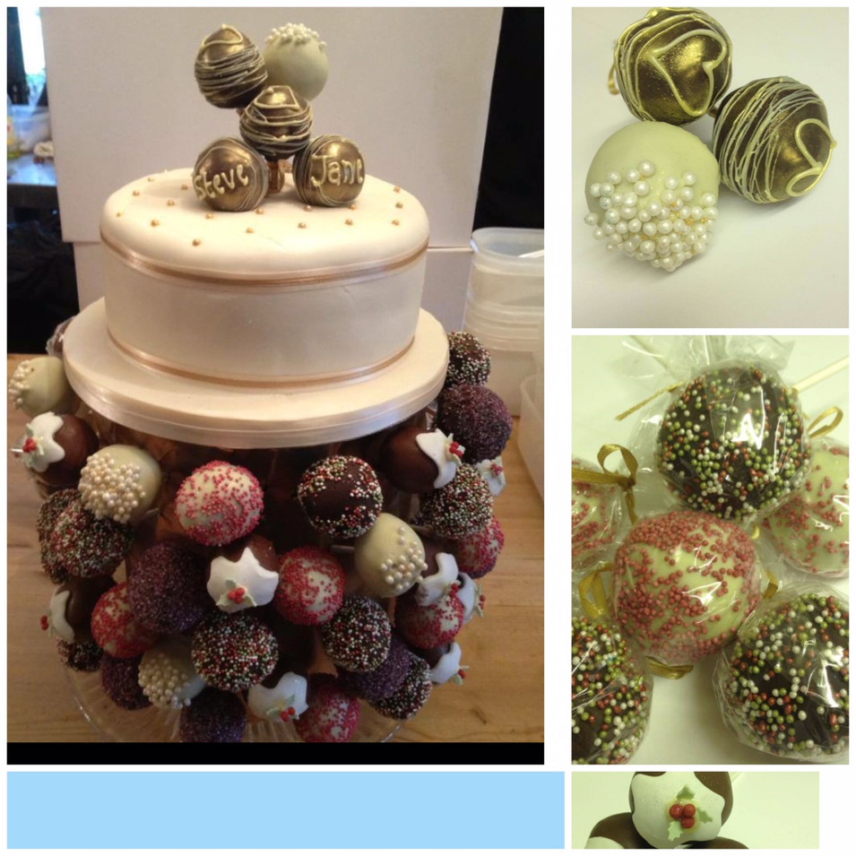 Christmas themed truffle pop tower wedding cake