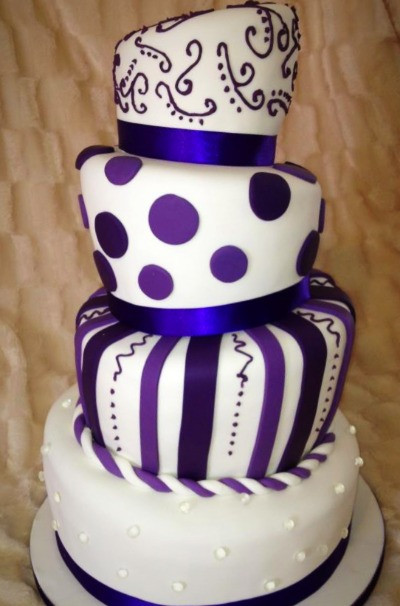 Wonkey wedding cake in cadburrys purple
