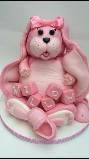 Fluffy pink bunny Christening cake