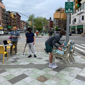 Public art chair arriving on the Lower East Side