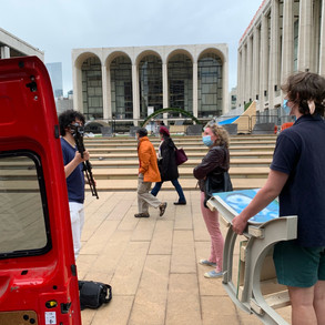 Public art chair arriving at Lincoln Center