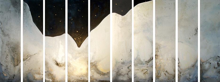 "CRÈCHE STELLAIRE by Chantal Westby  I   Size: 15"" x 60"" x 10 panels Medium: Ink / Minerals and Varnish on canvas"