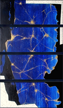 "BLUE PLANET N°I • EARTH IS THE BIRTHPLACE OF HUMANITY by Chantal Westby  I   Size: 12""x 30"" x 3 panels Medium: Ink / Minerals / Silver on canvas"