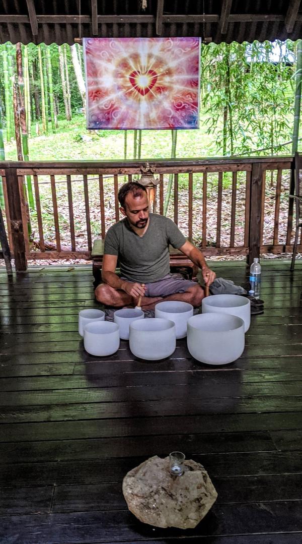 Andy playing crystal bowls