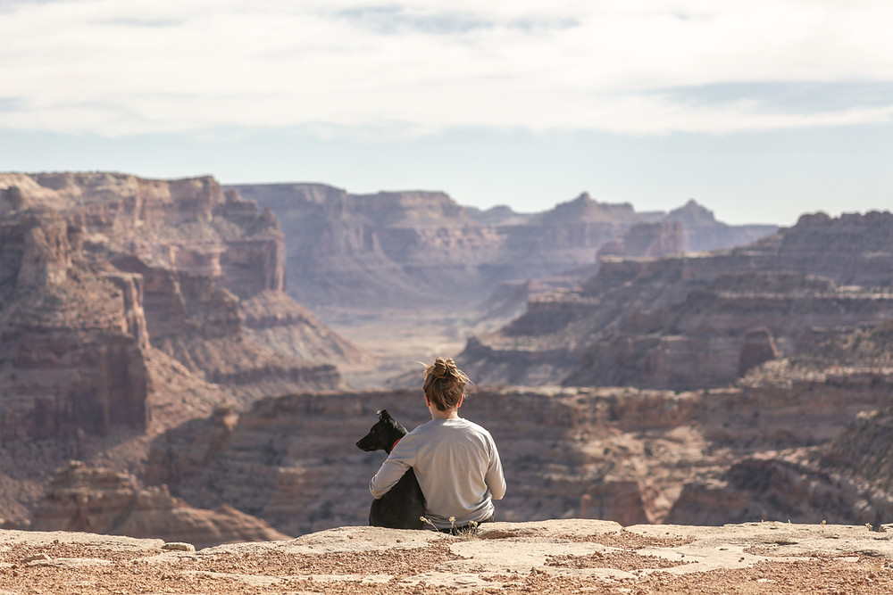 girl and dog looking out over canyon
