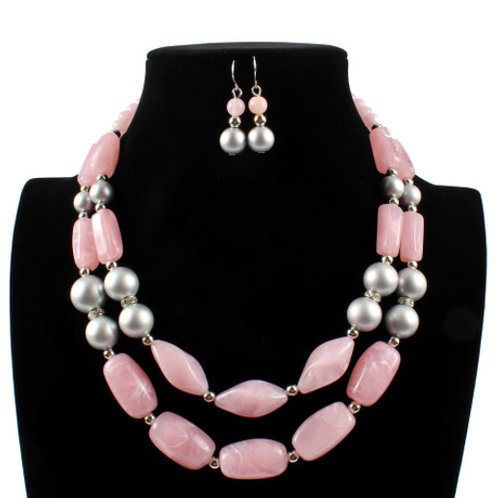 Double Color Cylindrical Handmade Necklace