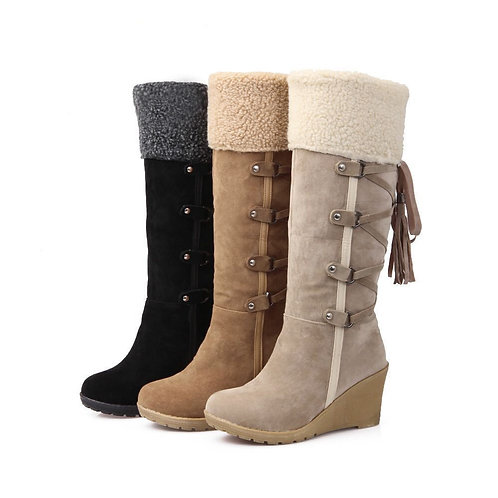 Laced with fringed high boots