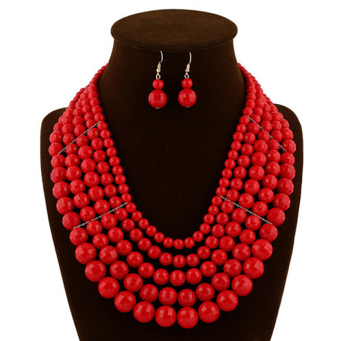 Red Multi Later red Jewelry set