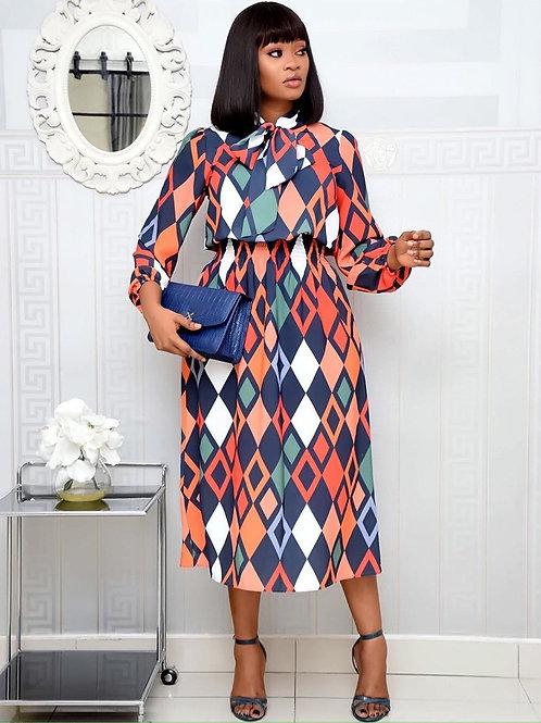 Thin Lace Print Long Sleeve Dress
