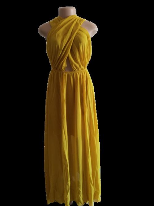 Wrap Chest Elegant Bow Chiffon Large Swing Dress