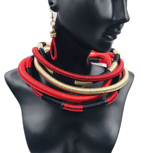 Multi layer African necklace