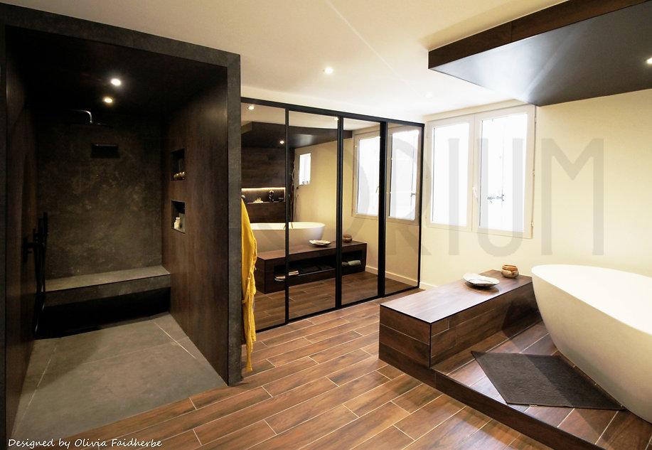 2 salle de bain grande douche banc  romagne sauveterre Olivia Faidherbe Decorium architect