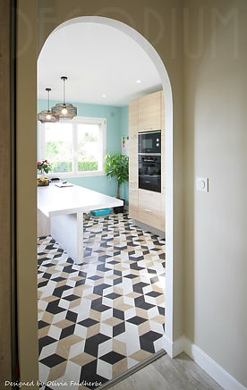 cuisine bleu vert sol original decorium olivia Faidherbe architecte decorateur arbanats po