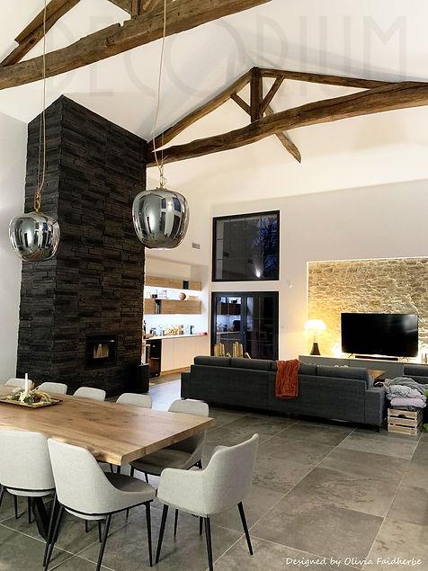 décoration séjour cheminée salon double hauteur Decorium Olivia Faidherbe Langon Sauveterr