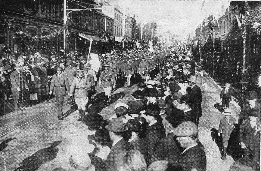 The 1919 Peace March in Charles Street Launceston. Weekly Courier picture
