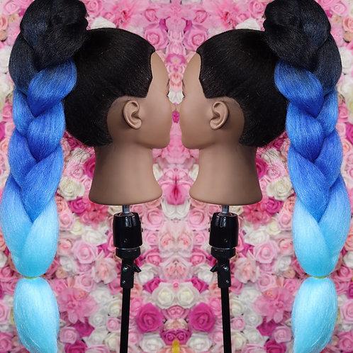 Blue  trinity - High Quality 3 color OMBRE braiding Hair