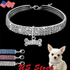 Crystal Dog Necklace Collar Rhinestone J
