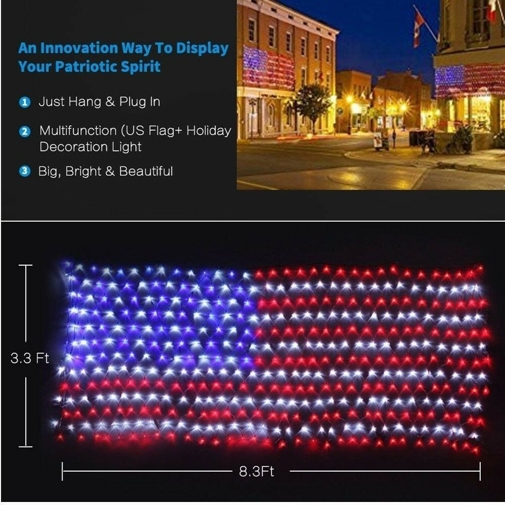 American US Flag LED String Light July 4