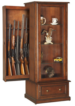 American Furniture Classics 611 10 Gun-Curio Slider Cabinet Combination