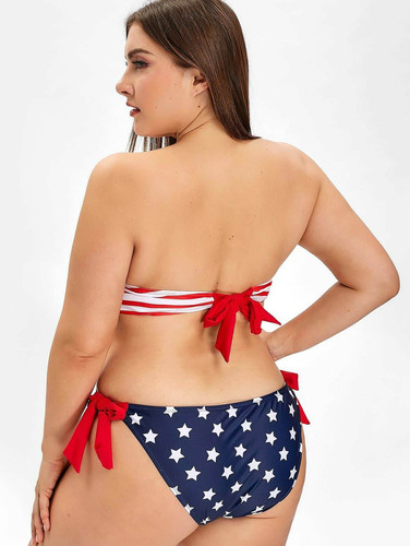 American Flag Print Cut Out Plus Size Sw