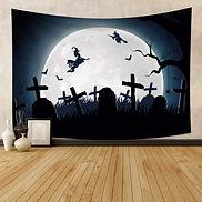 Broomstick Bats Full Moon Graveyard Cros