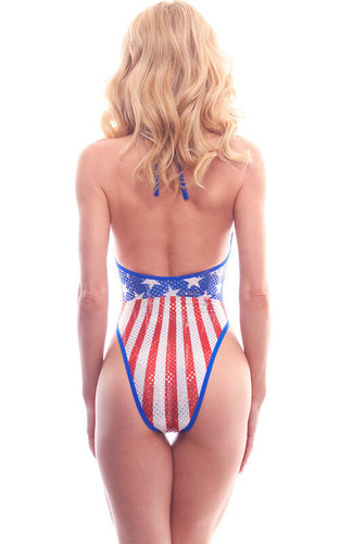 Patriotic One Piece High Cut American Fl