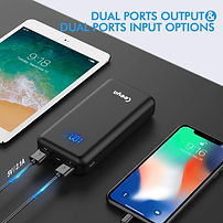 Portable charger power bank with dual in