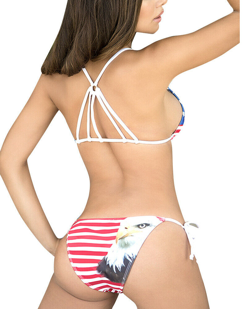 2PCS Womens American Flag Bikini Swimsui