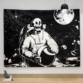 Skeleton Astronaut in Space Wall Tapestr