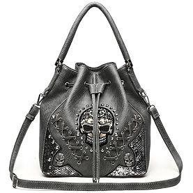 Sugar Skull Punk Handbag Studs Concealed