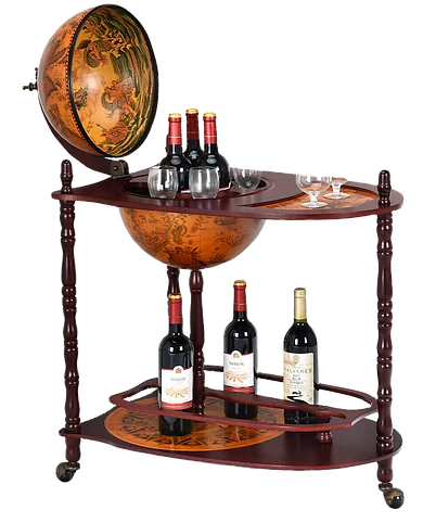"Goplus 34"" Wood Globe Wine Bar Stand 16th Century Italian"