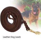 Heavy Duty Braided Leather Dog Leash Tra