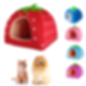 Strawberry Pet Dog Cat Bed House Kennel