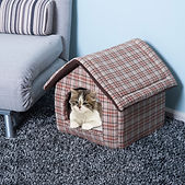 Plush Pet House Dog Cat Sleep Bed Cozy W