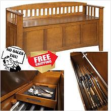 Hidden Gun Case Storage Ottoman Bench Ca
