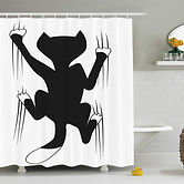 Shower Curtain, Cat Scratching The Wall.