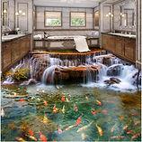 Waterfall Carp 3D Floor Tiles Wallpaper