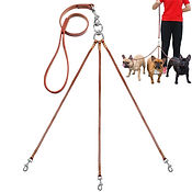 Triple Coupler Leather Dog Walking Leash