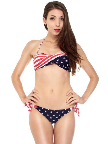 Women Summer USA American Flag Strapless