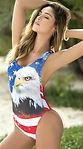 US Women American Flag Print One-Piece S