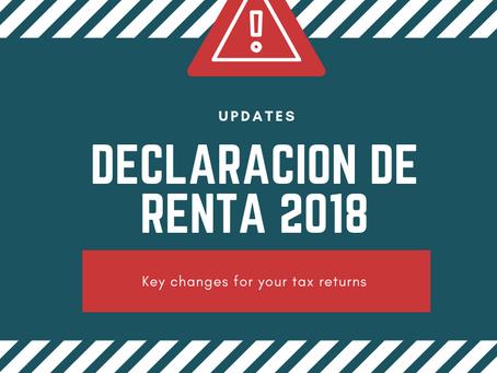 Declaración de Renta 2018 - key updates