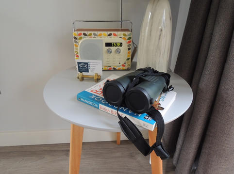 Digital radio and binoculars for birdwatching