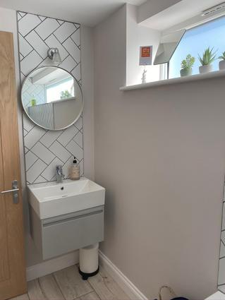 Modern, light filled bathroom