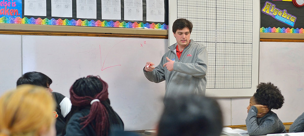 Student teacher in classroom
