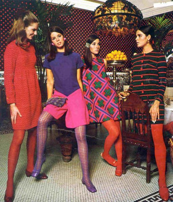 Vintage 60s Fishnet Tights Neon  Mod Fas
