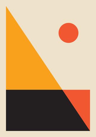 Sunset abstract print, sunset print, mod
